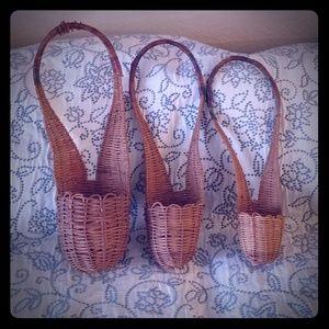 3 unique vintage stacking hanging baskets